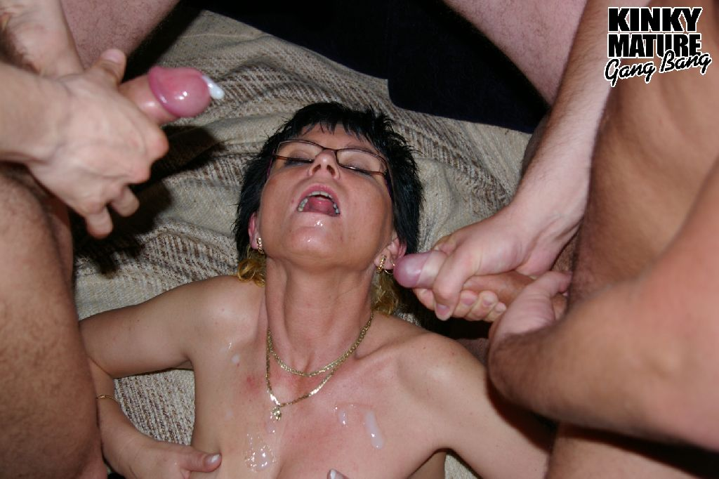 Mature slut gangbanged in the basement 10