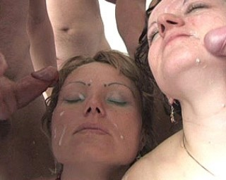 Two older girls in gangbang party